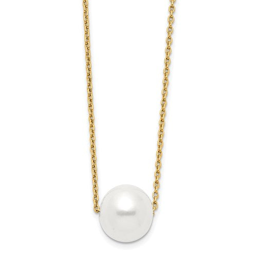 14k 10-11mm White Round Freshwater Cultured Pearl 17