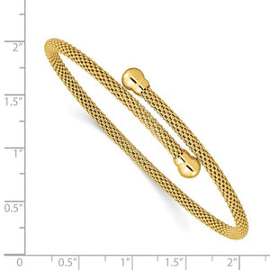 Sterling Silver Gold-Tone Textured Flexible Bangle