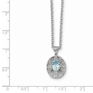 Sterling Silver And 14K Rhodium Plated Sky Blue Topaz And Diamond Necklace