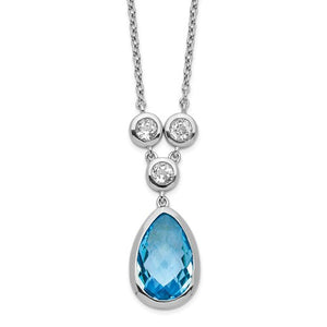 Sterling Silver Rhodium-Plated White And Blue Topaz With 2in Ext. Necklace