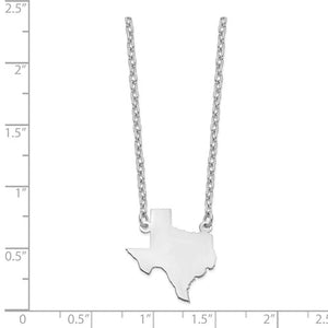 Sterling Silver Rhodium-Plated TX State Pendant With Chain