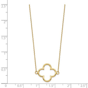 14k Small Necklace Quatrefoil Design