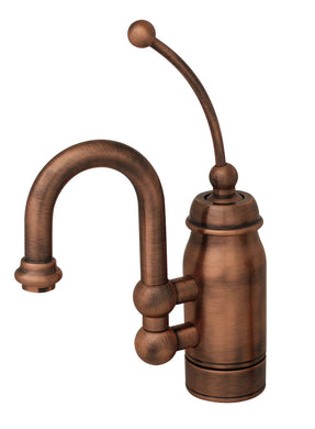 Whitehaus Baby Horizon Single Handle Entertainment/Prep Faucet with Curved Extended Stick Handle and Curved Swivel Spout in Antique Copper