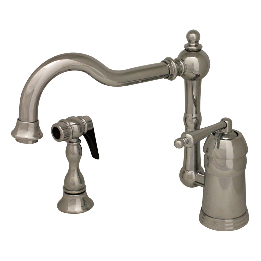 Whitehaus Legacyhaus Single Lever Handle Faucet with Traditional Swivel Spout and Solid Brass Side Spray in Chrome