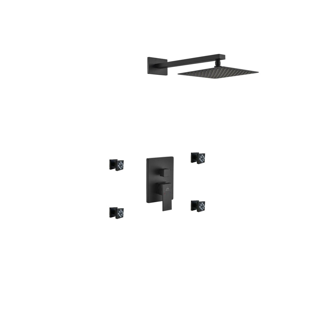 KubeBath Aqua Piazza Matte Black  Shower Set with 8