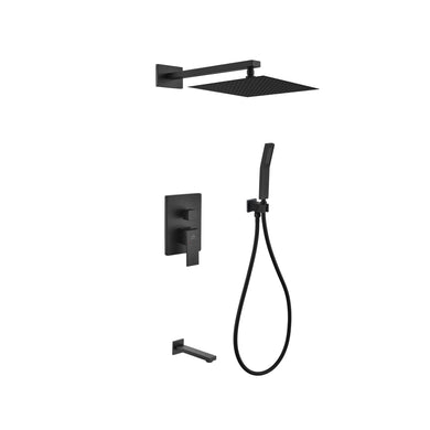 KubeBath Aqua Piazza Matte Black Shower Set with 12