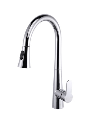Furio Brass Kitchen Faucet w/ Pull Out Sprayer in Chrome