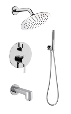 Lexora Salamonio Stainless Steel Round Shower Set