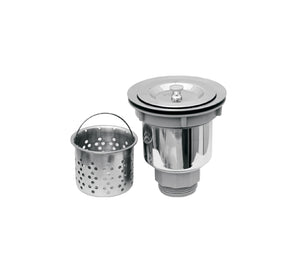 "Whitehaus 3 1/2"" Basket strainer with deep removable basket in Stainless Steel"