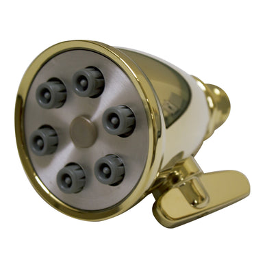 Whitehaus Showerhaus Small Round Showerhead with 6 Spray Jets - Solid Brass Construction with Adjustable Ball Joint in Brass