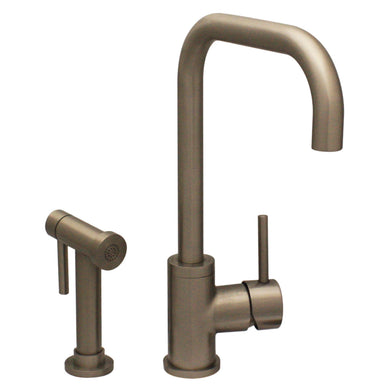 Whitehaus Jem Collection Single Hole/Single Lever Handle Faucet with Swivel Spout and a Solid Brass Side Spray in Brushed Nickel