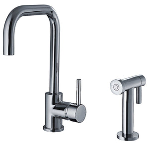 Whitehaus Jem Collection Single Hole/Single Lever Handle Faucet with Swivel Spout and a Solid Brass Side Spray in Chrome