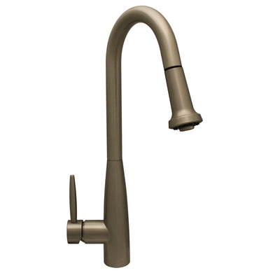 Whitehaus Jem Collectin Single Hole/Single Lever Handle Faucet with a Gooseneck Swivel Spout and Pull-Down Spray Head in Brushed Nickel