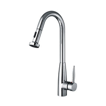 Load image into Gallery viewer, Whitehaus Jem Collectin Single Hole/Single Lever Handle Faucet with a Gooseneck Swivel Spout and Pull-Down Spray Head in Chrome