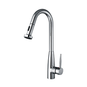 Whitehaus Jem Collectin Single Hole/Single Lever Handle Faucet with a Gooseneck Swivel Spout and Pull-Down Spray Head in Chrome