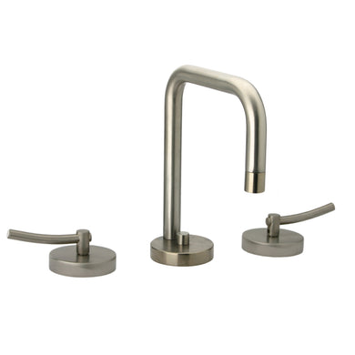 Whitehaus Metrohaus Lavatory Widespread Faucet with Swivel Spout, Pop-up Waste and Lever Handles in Brushed Nickel