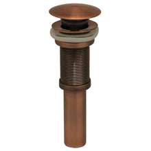 Load image into Gallery viewer, Whitehaus Decorative Pop-up Mushroom Drain with No Overflow in Antique Copper