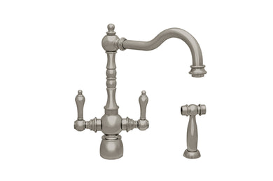 Whitehaus Englishhaus Dual Lever Handle Faucet with Traditional Swivel Spout, Solid Lever Handles and Solid Brass Side Spray in Brushed Nickel