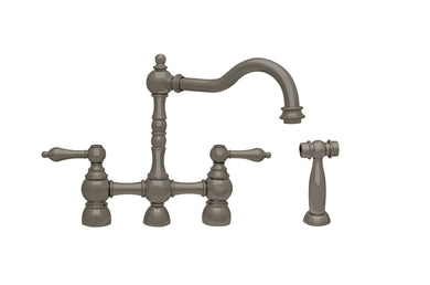 Whitehaus Englishhaus Bridge Faucet with Long Traditional Swivel Spout, Solid Lever Handles and Solid Brass Side Spray in Brushed Nickel