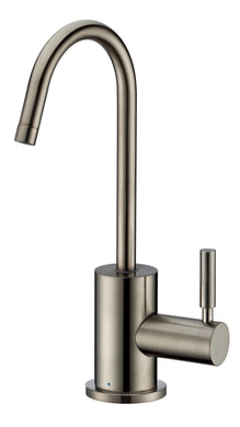 Whitehaus Point of Use Cold Water Drinking Faucet with Gooseneck Swivel Spout in Brushed Nickel