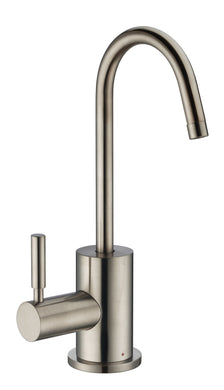 Whitehaus Point of Use Instant Hot Water Drinking Faucet with Gooseneck Swivel Spout in Brushed Nickel