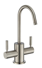Load image into Gallery viewer, Whitehaus Point of Use Instant Hot/Cold Water Drinking Faucet with Gooseneck Swivel Spout in Brushed Nickel