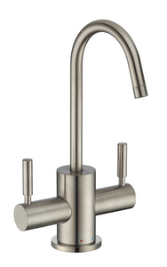 Whitehaus Point of Use Instant Hot/Cold Water Drinking Faucet with Gooseneck Swivel Spout in Brushed Nickel
