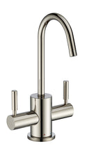 Load image into Gallery viewer, Whitehaus Point of Use Instant Hot/Cold Water Drinking Faucet with Gooseneck Swivel Spout in Nickel