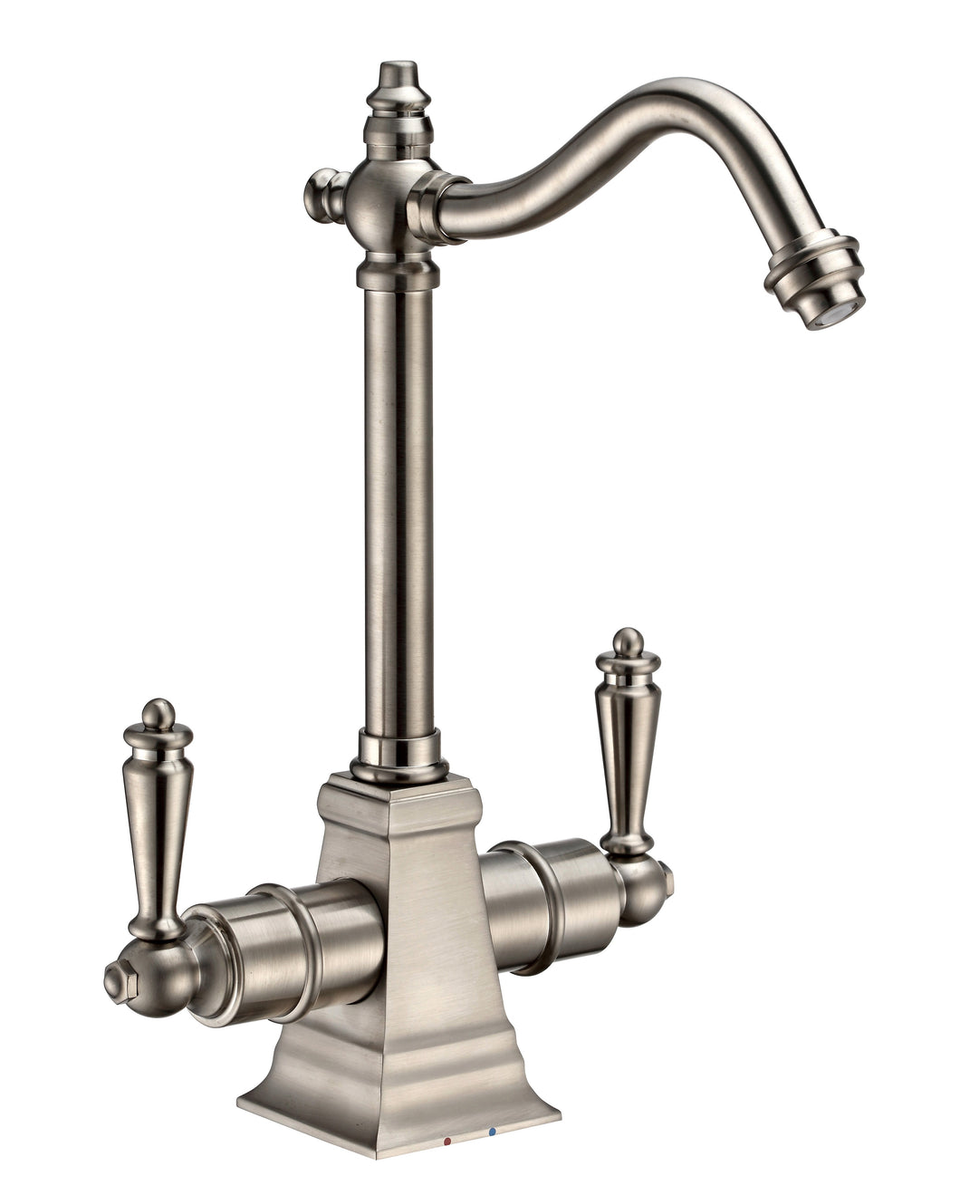 Whitehaus Point of Use Instant Hot/Cold Water Drinking Faucet with Traditional Swivel Spout in Brushed Nickel