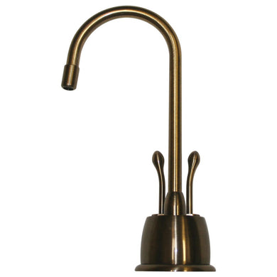 Whitehaus Point of Use Instant Hot/Cold Water Faucet with Gooseneck Spout and Self Closing Hot Water Handle in Antique Brass