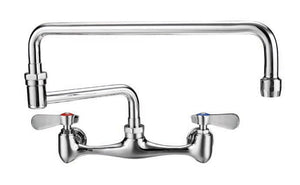 Whitehaus Wall Mount Utility Faucet with Double Jointed Retractable Swing Spout and Lever Handles in Chrome