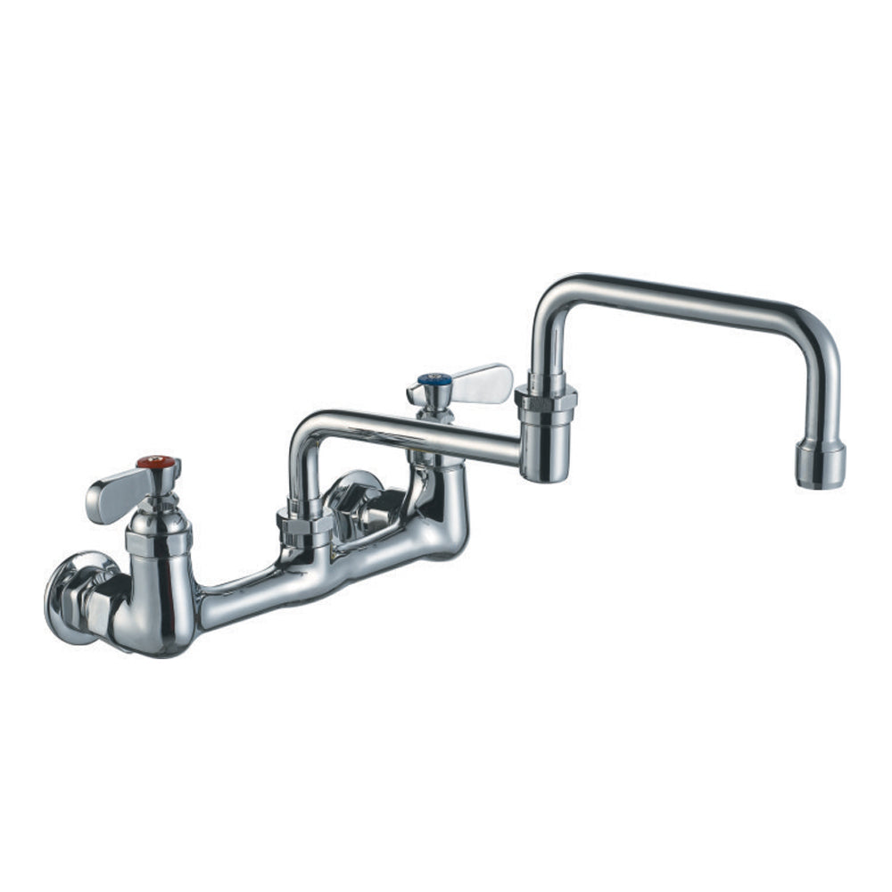 Whitehaus Heavy Duty Wall Mount Utility Faucet with Double Jointed Retractable Swing Spout and Lever Handles in Chrome