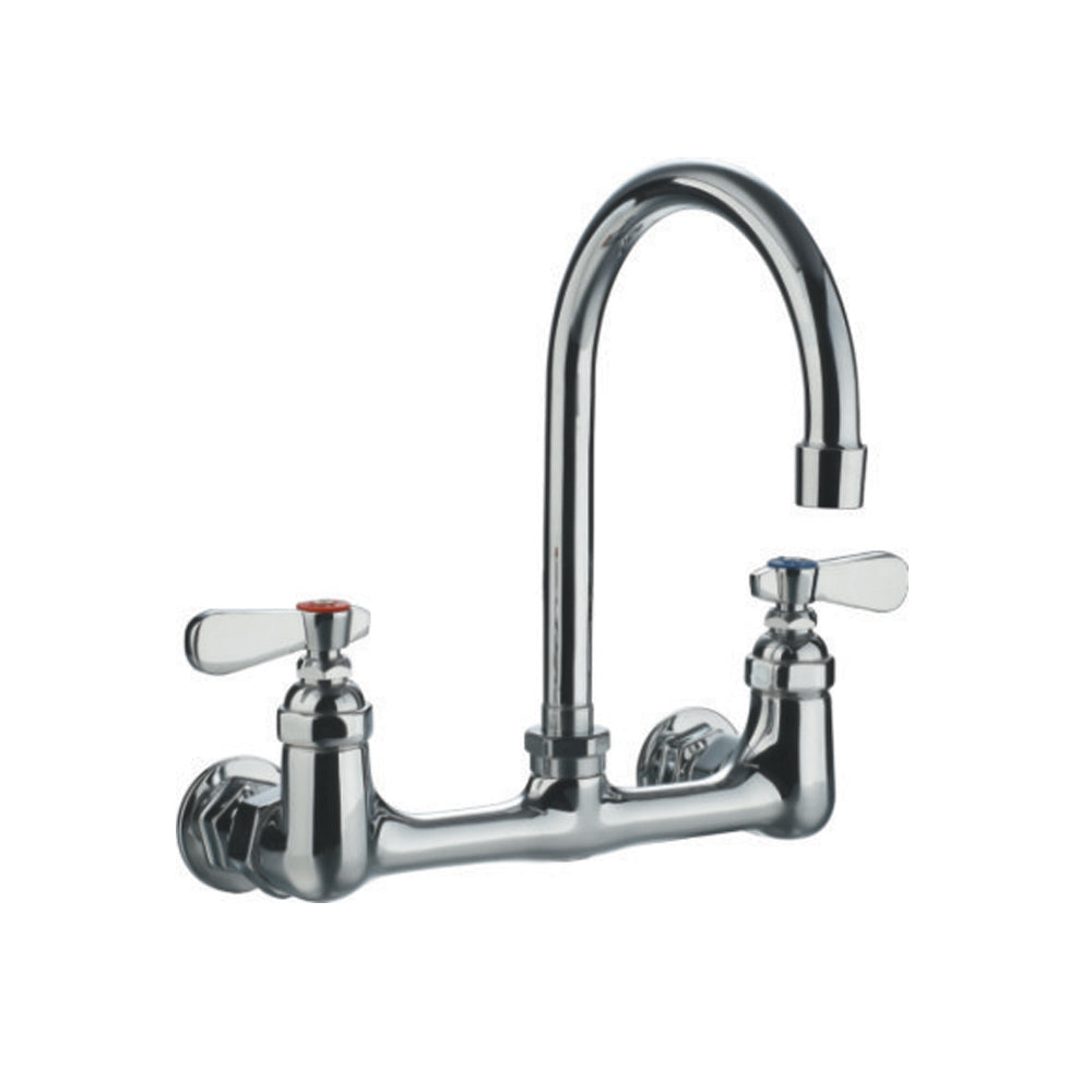 "Whitehaus Heavy Duty Wall Mount Utility Faucet with a 7.75"" Gooseneck Swivel Spout and Lever Handles in Chrome"