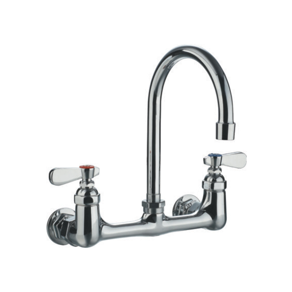 "Whitehaus Heavy Duty Wall Mount Utility Faucet with a 8.75"" Gooseneck Swivel Spout and Lever Handles in Chrome"