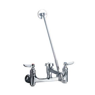 Whitehaus Heavy Duty wall mount service sink faucet with support bracket and lever handles  in Chrome