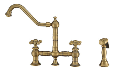 Whitehaus Vintage III Plus Bridge Faucet with Long Traditional Swivel Spout, Cross Handles and Solid Brass Side Spray in Antique Brass