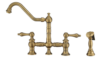 Whitehaus Vintage III Plus Bridge Faucet with Long Traditional Swivel Spout, Lever Handles and Solid Brass Side Spray in Antique Brass
