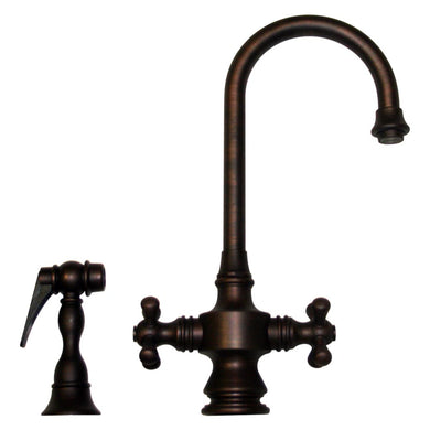Whitehaus Vintage III Dual Handle Entertainment/Prep Faucet with Short Gooseneck Swivel Spout, Cross Handles and Solid Brass Side Spray in Mahogany Bronze