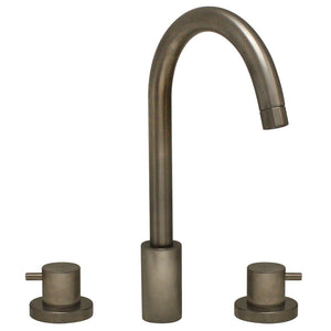 Whitehaus Luxe Widespread Lavatory Faucet with Tall Gooseneck Swivel Spout and Pop-up Waste in Brushed Nickel