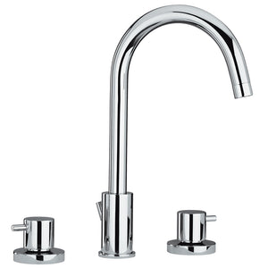 Whitehaus Luxe Widespread Lavatory Faucet with Tall Gooseneck Swivel Spout and Pop-up Waste in Chrome