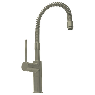 Whitehaus Metrohaus Commercial Single Lever Kitchen Faucet with Flexible Spout in Brushed Nickel