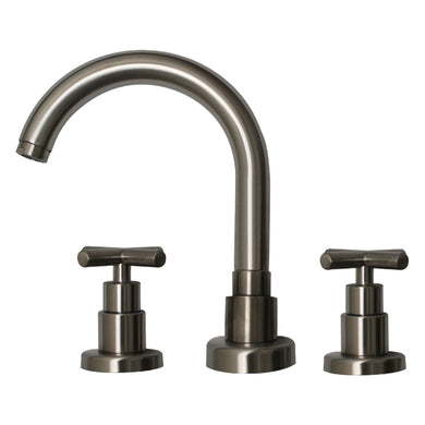 Whitehaus Luxe Widespread Lavatory Faucet with Tubular Swivel Spout, Cross Handles and Pop-up Waste in Brushed Nickel in Default Title