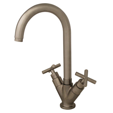 Whitehaus Luxe Single Hole/Dual Handle Entertainment/Prep Faucet with High Tubular Swivel Spout  in Brushed Nickel