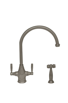Whitehaus Queenhaus Dual Handle faucet with Long Gooseneck Spout, Solid Lever Handles and Solid Brass Side Spray in Brushed Nickel