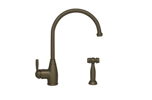 Whitehaus Queenhaus Single Lever Faucet with a Long Gooseneck Spout, Solid Single Lever Handle and Solid Brass Side Spray in Brushed Nickel