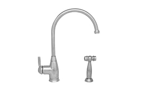 Whitehaus Queenhaus Single Lever Faucet with a Long Gooseneck Spout, Solid Single Lever Handle and Solid Brass Side Spray in Chrome