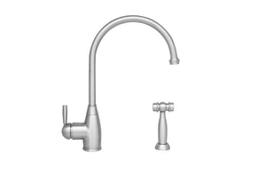 Whitehaus Queenhaus Single Lever Faucet with a Long Gooseneck Spout, Solid Single Lever Handle and Solid Brass Side Spray in Nickel