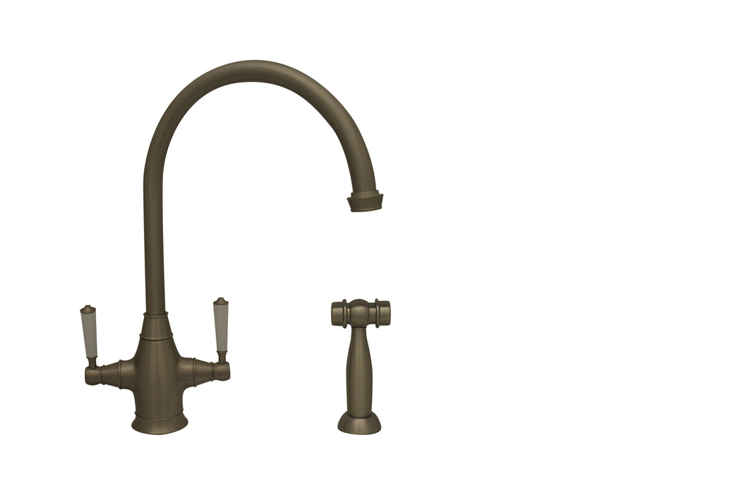 Whitehaus Queenhaus Dual Handle Faucet with Long Gooseneck Spout, Porcelain Lever Handles and Solid Brass Side Spray in Brushed Nickel