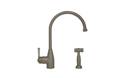 Whitehaus Queenhaus Single Lever Faucet with Long Gooseneck Spout, Porcelain Single Lever Handle and Solid Brass Side Spray in Brushed Nickel