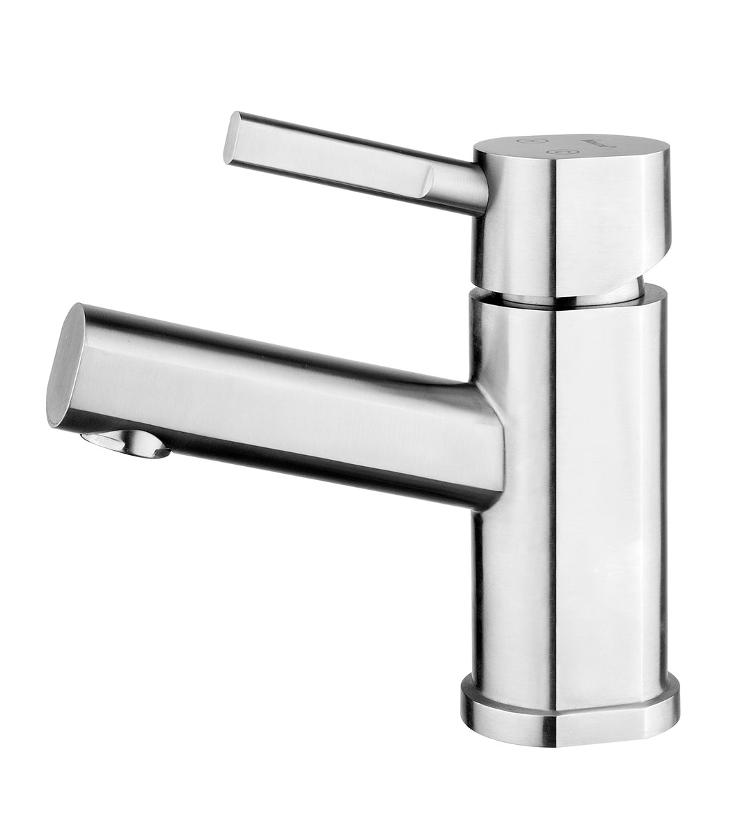 Whitehaus Waterhaus Solid Stainless Steel, Single Hole, Single Lever Lavatory Faucet in Brushed Stainless Steel in Default Title